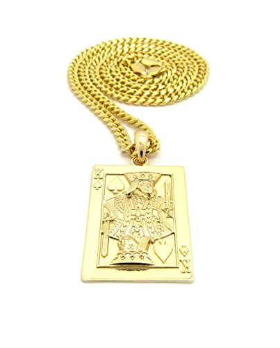 (Shiny Jewelers USA MENS KING OF SPADE CARD GOLD PENDANT CHARM 24