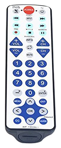 NetTech Universal Waterproof Remote Control 2-Device, Work for Apple TV, Xbox One, Roku 1 2 3, Media Center, Direct TV, Dish & Most TV in USA wp1302AL1
