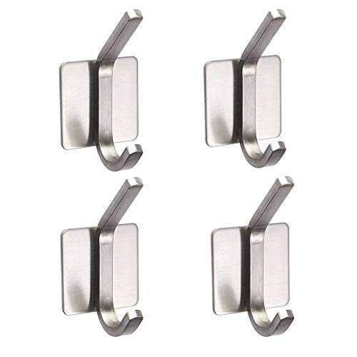 3M Hooks Towel Hook Heavy Duty Wall Hooks Stainless Steel Waterproof Self Adhesive Hooks Hanger for Coat Key Hat Bag - Bathroom Kitchen Home(4 Packs)