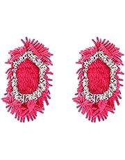 2 Stks Mop Slippers Schoenen Cover Zachte Wasbare Herbruikbare Microfiber Foot Socks Vloer Dust Dirt Haar Cleaner Rose Red 1 Paar