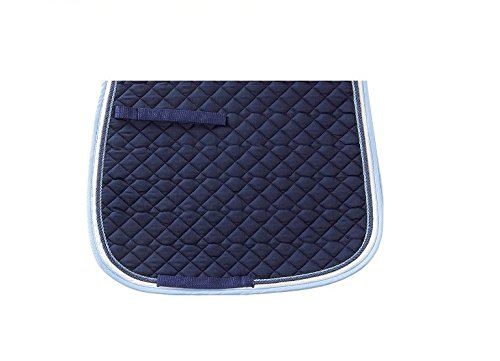 USG Dressage Quillted Saddle Cloth with Double Rope Piping, Full, Navy/ Ice Blue/ Ecru with Border, Navy/ Ice Blue UNJFB 58831