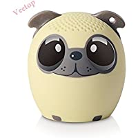 Veetop - Mini Music Pet Bluetooth Wireless Speaker Portable Rechargeable Battery for Chirstmas XMAS Gifts - Remote Selfie Function - PUPPY