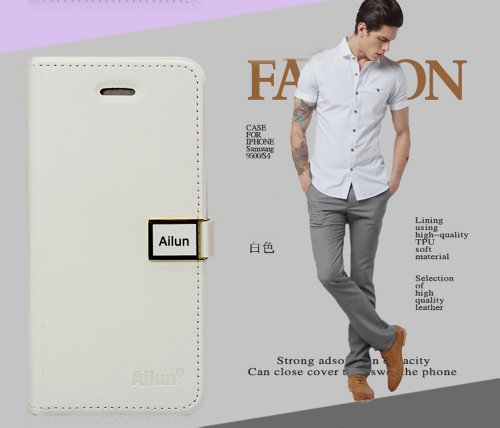 fashion Ailun leather wallet card flip Case Cover Skin For Apple iPhone 5 5G 5S (white)