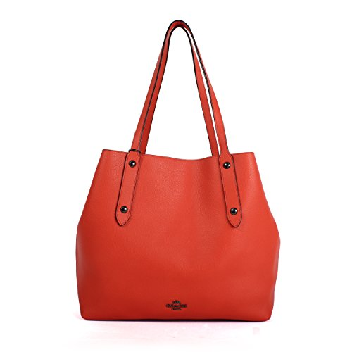 Coach Large Orange Market Tote in Printed Pebble Leather, Style NO. 58738 by Coach