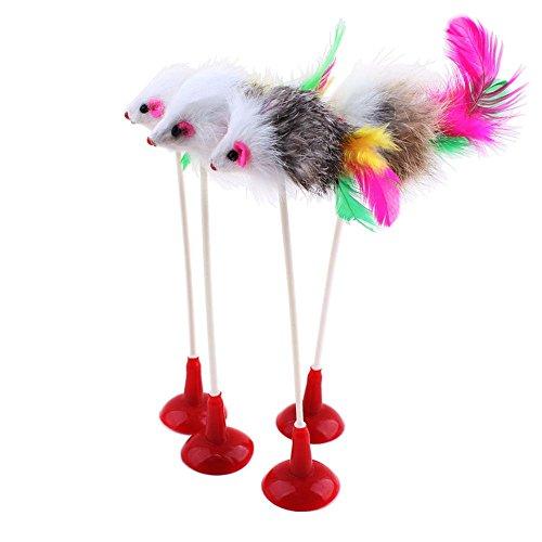 VANKER Caliente divertido de la pluma del animal doméstico Ratón Falso inferior del lechón del gato gatito jugando arañazos Juguetes