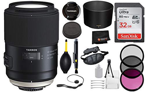 Tamron SP 90mm f/2.8 Di Macro 1:1 VC USD Lens for Canon EF Digital Cameras with Bundle Package Deal –3 Piece Filter Kit + SanDisk 32gb SD Card + Camera Grip + More