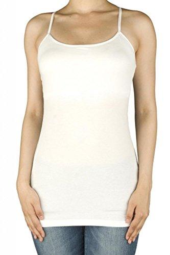 UPC 616450004712, Women Active Basic Built In Inner Bra Extra Long Spaghetti Cami Adjustable White Small