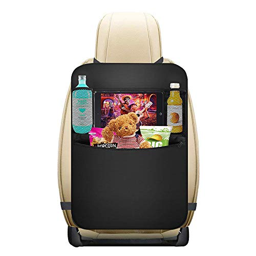 """Backseat Car Organizer- ASANMU Kick Mats Back Seat Protector with Clear Touch Screen 10"""" Tablet Holder + Multi Storage Pockets for Toy Bottle Book Drink, Travel Accessories for Car Trip"""