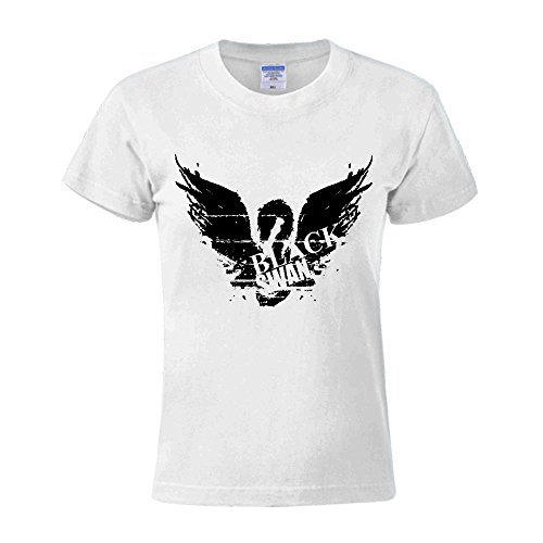 Timico DIY Black Swan Logo Women O Neck T-shirt - Duke Dress Buckle Casual