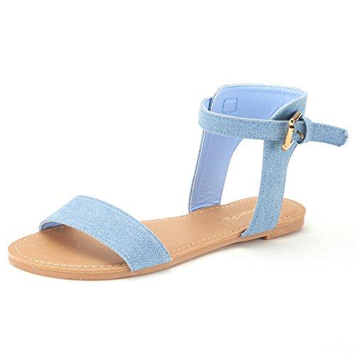 DREAM PAIRS ALEXA Women's High Ankle Cuff One-Band Adjustable Buckle Closure Summer Fashion Flat Sandals BLUE DENIM-SZ-7.5