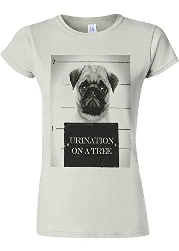 失効アルコール計画的Pug Urination Mug Shot Funny Novelty White Women T Shirt Top-L