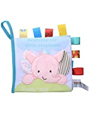 LALANG Baby Soft Cloth Book Early Educational Infant Cognitive Reading Rattles Toy(Elephant)