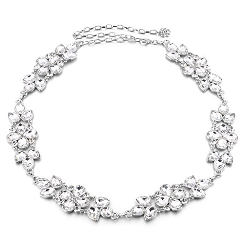 MagiDeal Women Big Flower Colorful Crystal Rhinestone Metal Waist Chain Belt Luxury Diamante for Evening Party Dress - Silver + White