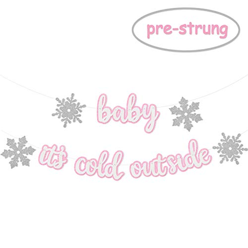 Glitter Baby It's Cold Outside Banner Baby Shower Winter Snowflake Photo Props Decoration Supplies