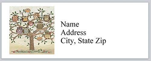 150 Personalized Return Address Labels Primitive Country Tree of Owls (bx 746)