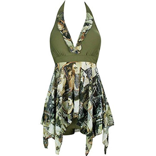Forlisea Womens Plus Size Halter Tankini Swimwear Swimsuit 2 Pieces US 3XL/Asian 6XL Green