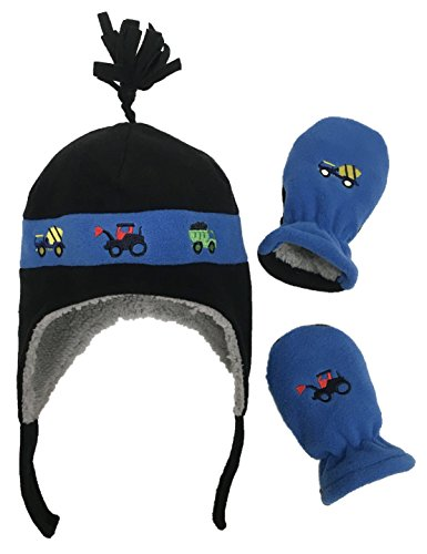 N'Ice Caps Little Boys Baby Sherpa Lined Fleece Hat Mitten Embroidery Set (6-18mos, Black/Royal Trucks Infant)