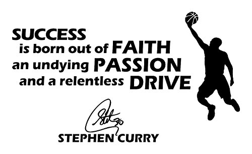 Wall Decals: All Star Sports NBA Players Life of Curry Famous Quote Wall Art Decals. - White ()