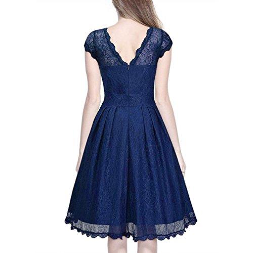 WINWINTOM Moda Mujer Encaje Vestido De Manga Corta Con Encanto Vestido Linda De CóCtel Sin Respaldo Slim Plus Mini Vestido Azul