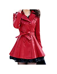 Fensajomon Womens Vintage Lapel Double-breasted Pu Leather Trench Dress-Coat Overcoat