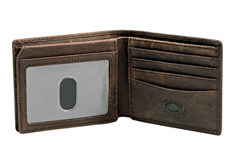 Stealth Mode Brown Leather Bifold Wallet for Men With ID Window and RFID Blocking, One Size
