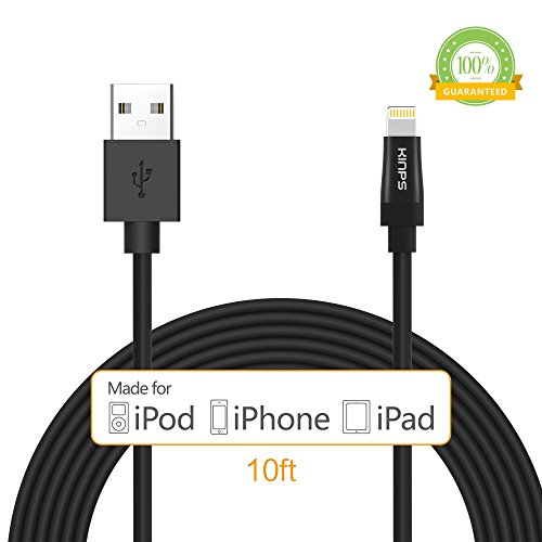 Kinps Apple MFi Certified Lightning to USB Cable 10ft/3m iPhone Charger Cord Super Long for iPhone 7 / 7 Plus / 6S / 6S Plus / 6 / 6 Plus / SE / 5S / 5, iPad Pro / Air / Mini (Black, 1 Pack)