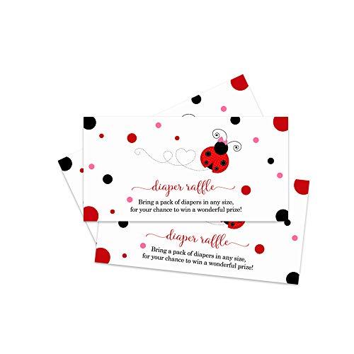 Ladybug Diaper Raffle Tickets (25 Pack) Girls Baby Shower Game]()