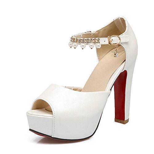Un Color Sólido Con Una Sandalia De Plataforma Impermeable Con Cuentas/Zapatos Verano Con Alta Calidad blanco
