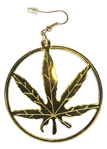 Gold Marijuana Leaf Earrings Cannabis Weed/Pot Hemp 420 Friendly Rasta Dangle Hoop Earring (Earrings Weed)