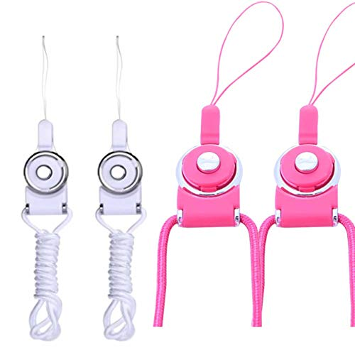 k Strap Lanyard Quick Release ID Holder Neck Lanyard, Detachable Necklace Neck Band,Office Breakaway Strings,Keychain,for iPhone,ID Badge Holder,USB Flash Drive-White+Pink ()