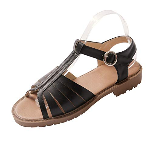 Benficial Hollow-Out Low-Heeled Sandals Summer New Casual Fashion Peep Toe Women Shoes Black ()