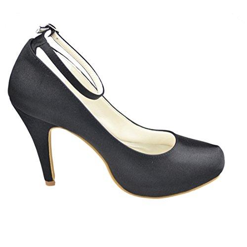 Pumps Shoes Stiletto Heel Black 10cm Party High Minitoo Womens Wedding Evening Bridal Satin Heel fwnvUxaqz
