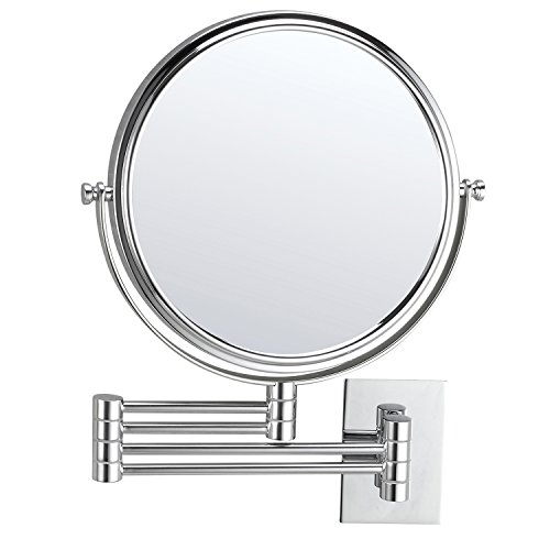 (Mirko 10x Magnification 8 Inch Double-Sided Swivel Extendable Bathroom Wall Mount Makeup Mirror, Polished Chrome Finish)