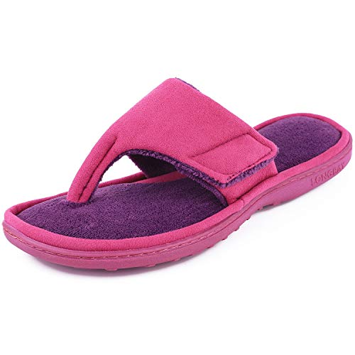 LongBay Women's Memory Foam Flip Flop Spa Slippers Micro Suede Adjustable Sandals (Medium / 7-8 B(M) US, Hot - Foam Terry
