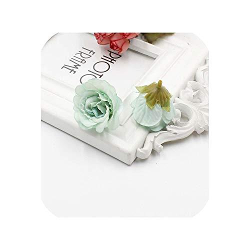 New 10Pcs Artificial Flower Silk Rose Flower Head Wedding Party Home Decoration DIY Wreath Scrapbook Gift Box Crafts,Green -
