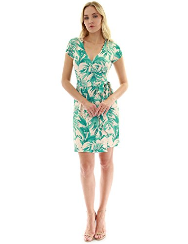 PattyBoutik Women Cap Sleeve Faux Wrap Print Dress (Green and Beige 16 Small)