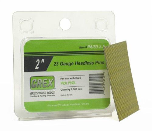 Grex P-6/50-2.5 23 Gauge 2-Inch Length Headless Pins (2,500 per Box) ()