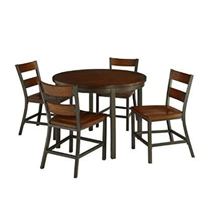 Cabin Creek Chestnut 5 Piece Set by Home Styles - Each piece is physically distressed by hand Heavily distressed multi-step chestnut finish featuring worm holes, fly specking, small indentations and season splitting Hammered metal look finished frame - kitchen-dining-room-furniture, kitchen-dining-room, dining-sets - 41YjWefa9ZL. SS400  -