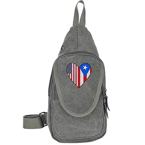 NICKCAT Half Puerto Rico Flag Half USA Flag Love Heart Canvas Chest Pack Sling Bag Crossbody Shoulder Bag Tactical Satchel for Men & Women Outdoor Cycling Hiking Travel