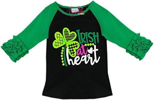 Angeline Toddler Little Girls ST. Patrick's Day Irish At Heart Ruffles Raglan T-Shirt (Irish Heart Green T-shirt)