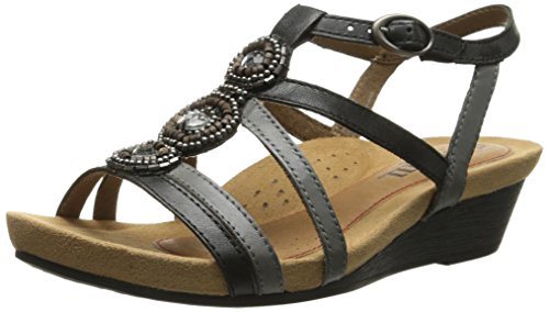 Rockport Cobb Hill Women's Hannah CH Sandal, Black, 9.5 M US