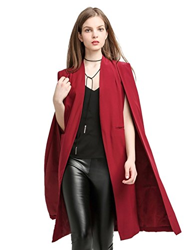 Richlulu Womens Lightweight Open Front Longline Blazer Cloak Cape Trench Coat(Medium, -