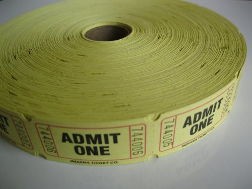 2000 Yellow Admit One Single Roll Consecutively Numbered Raffle Tickets
