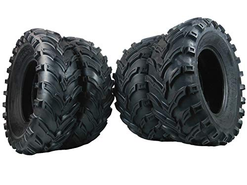Set of 4 New ATV/UTV Tires 2 of 25x8-12 Front and 2 of 25x10-12 Rear /6PR P377 (2003 Tires 400 Bear Big Yamaha)