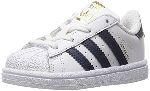 adidas Originals Kids' Superstar, White/Collegiate Navy/Metallic Gold, 7K M US Toddler