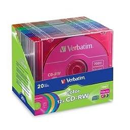VER96685 - Verbatim 96685 CD Rewritable Media - CD-RW - 12x - 700 MB - 20 Pack Slim Case
