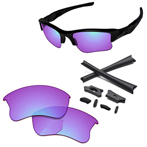 PapaViva Lenses Replacement & Rubber Kits for Oakley Flak Jacket XLJ Pro+ Magenta Golf ()