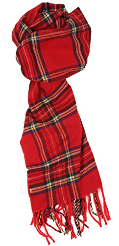Love Lakeside-Men's Cashmere Feel Winter Plaid Scarf Red Stewart Tartan