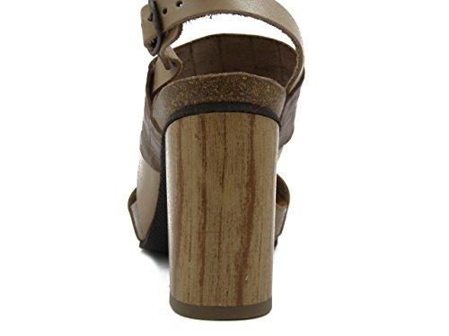 OSVALDO PERICOLI Sandalo in Pelle Taupe/Camel, Tacco 9cm. - 17213 e17