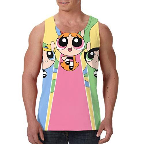 TANISHABUNKLEY Man Powerpuff Girls Gift Adult Tank Vest Tee Shirt XL Black ()